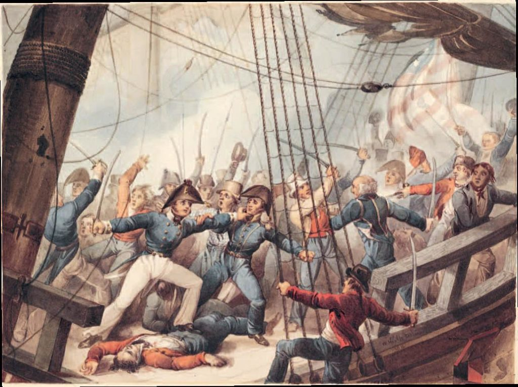 Heat-of-the-battle scene on the deck of the USS Chesapeake