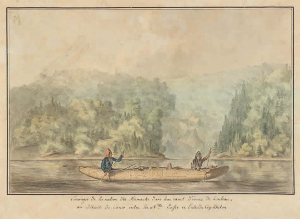 Mi'kmaq family in an ocean-going canoe